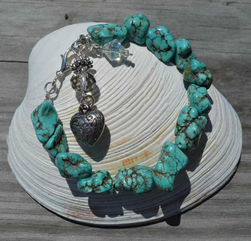 Turquoise-GemStone-Bracelet-with-heart